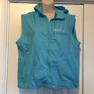 Nike Women's Blue Hooded Rain Jacket Vest Small